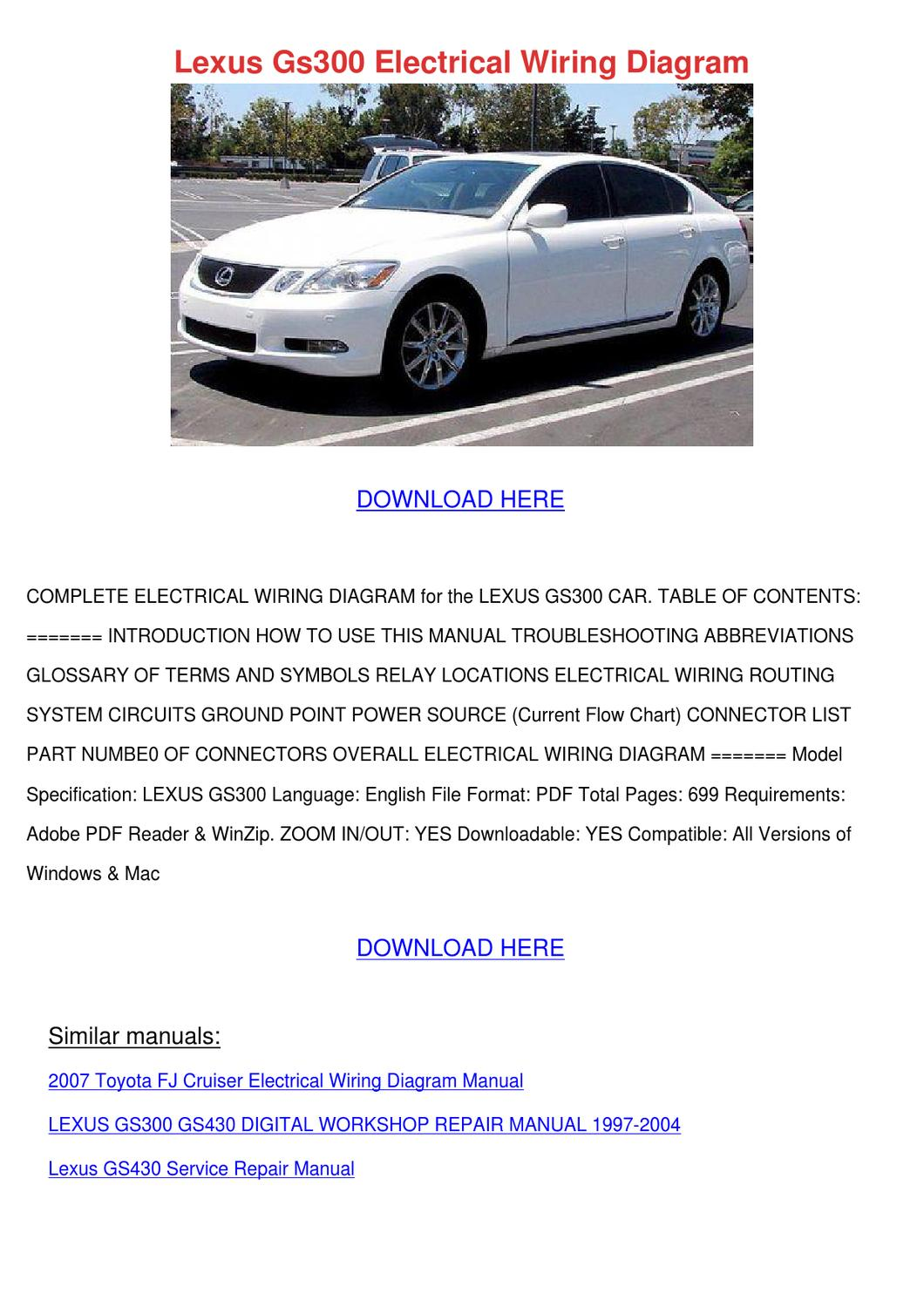 page_1 lexus gs300 electrical wiring diagram by forrestegan issuu Kubota Electrical Wiring Diagram at webbmarketing.co