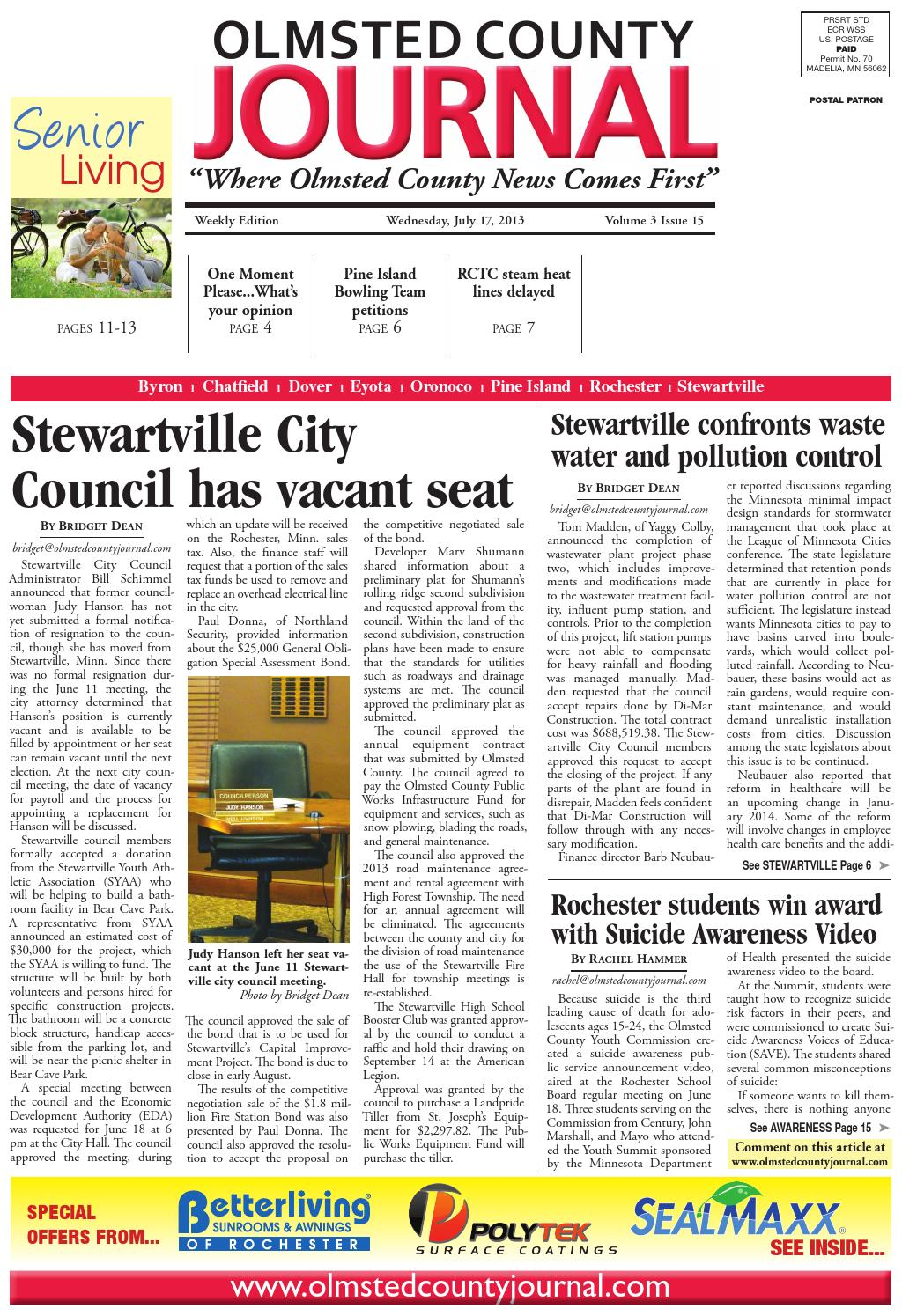 Olmsted County Journal 7 17 13 by Jason Sethre - issuu