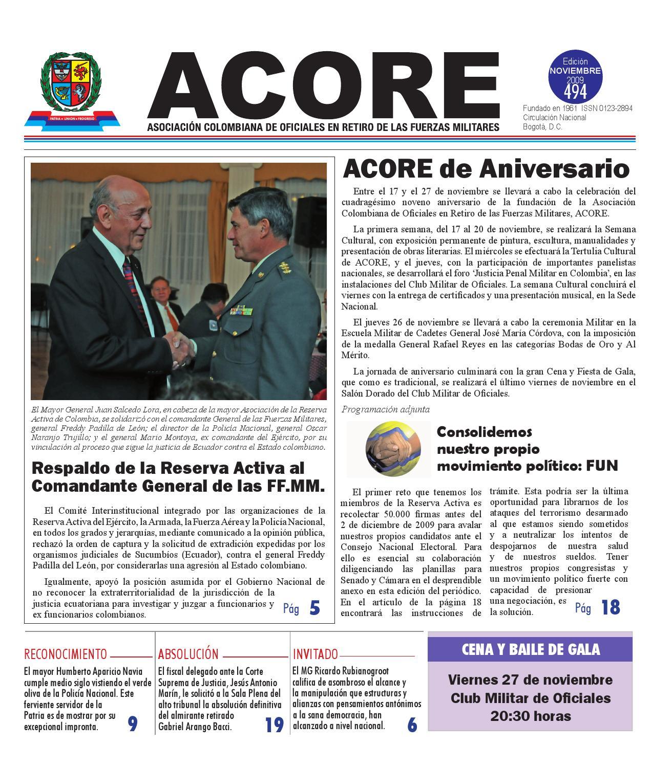 Periódico edición 494 noviembre 2009 by ACORE - issuu