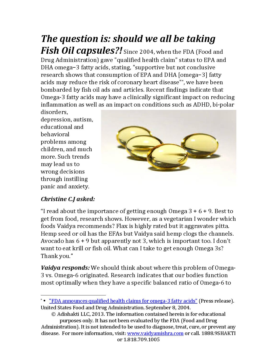 Fish oil april 5 2013 by vaidya mishra issuu for Fish oil for depression and anxiety