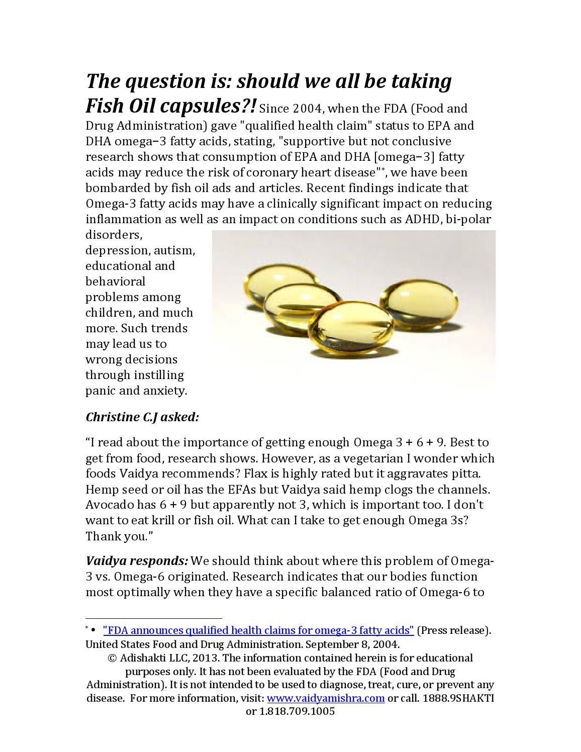 Fish oil april 5 2013 by vaidya mishra issuu for Fish oil depression dosage