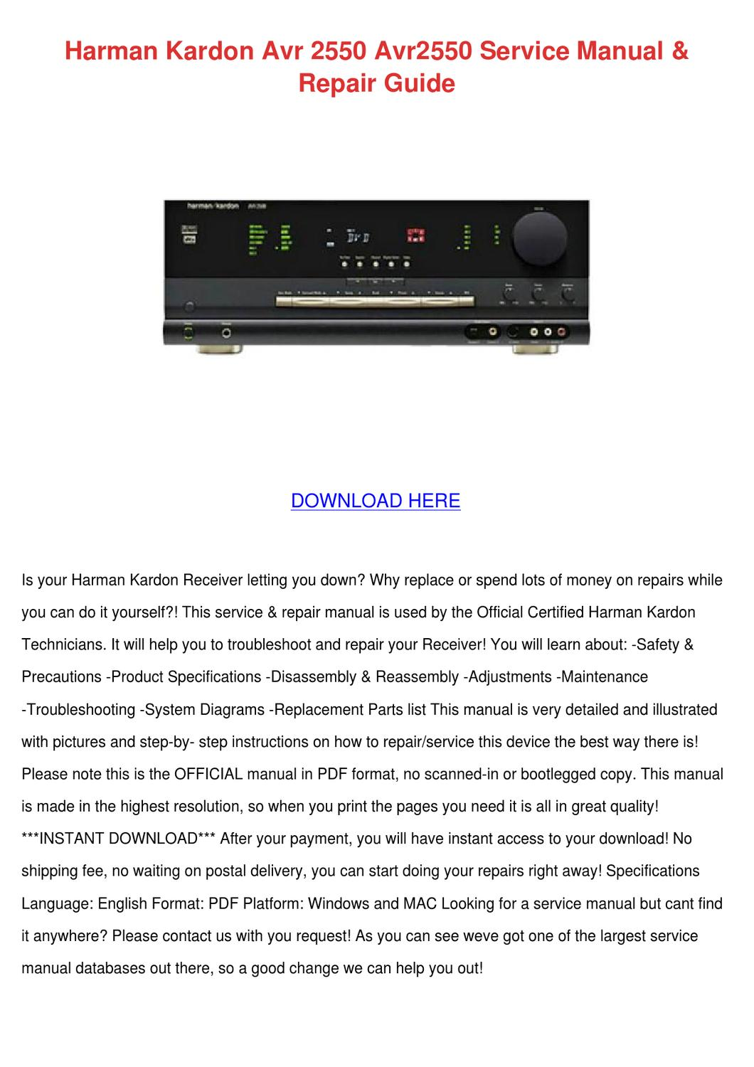 Harman Kardon Avr 2500 Service Manual