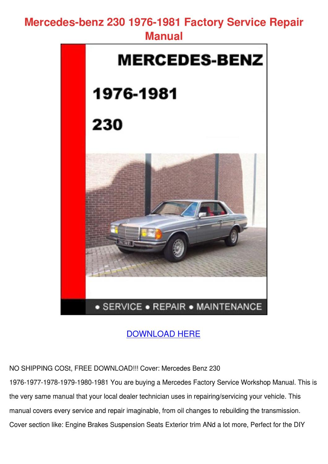 Mercedes Benz 230 1976 1981 Factory Service R by AnjaZimmerman - issuu