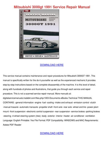 mitsubishi 3000gt 1991 service repair manual by. Black Bedroom Furniture Sets. Home Design Ideas