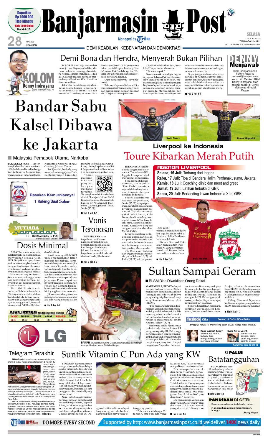 Banjarmasin Post Selasa 9 Juli 2013 By Issuu Bakpia Nurfatimah Siti Ramlah Pal 16