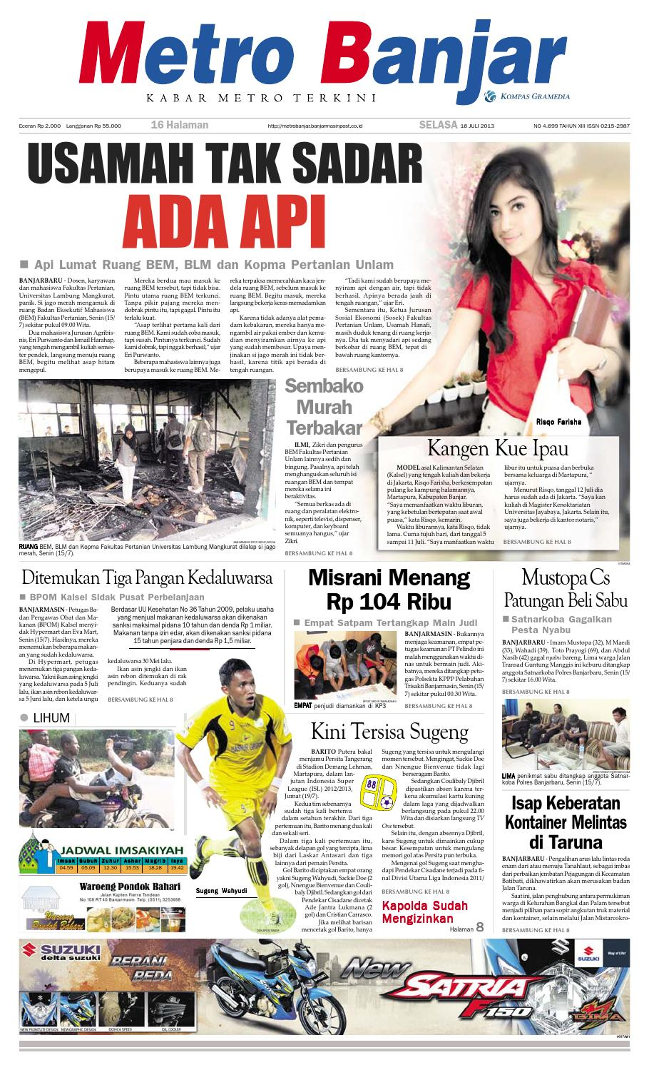 Metro Banjar Selasa 16 Juli 2013 By Harian Issuu Sepatu Olahraga Lari Lokal  Fans Veloz N