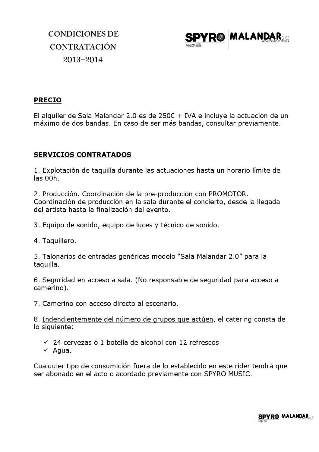 Condiciones 2013 2014 sala malandar 2 0 by spyro music issuu for Sala malandar