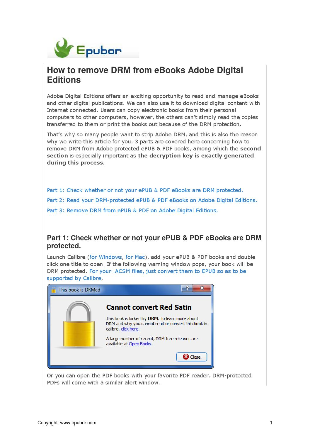 How to remove DRM from eBooks Adobe Digital Editions by