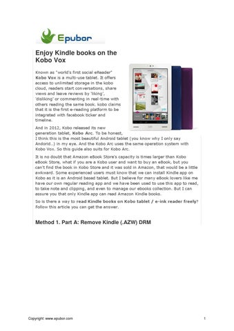 Enjoy Kindle books on the Kobo Vox by Jarrey Zhang - issuu