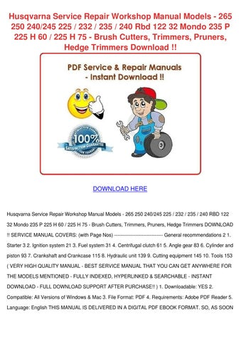 husqvarna chainsaw 250ps complete workshop repair manual