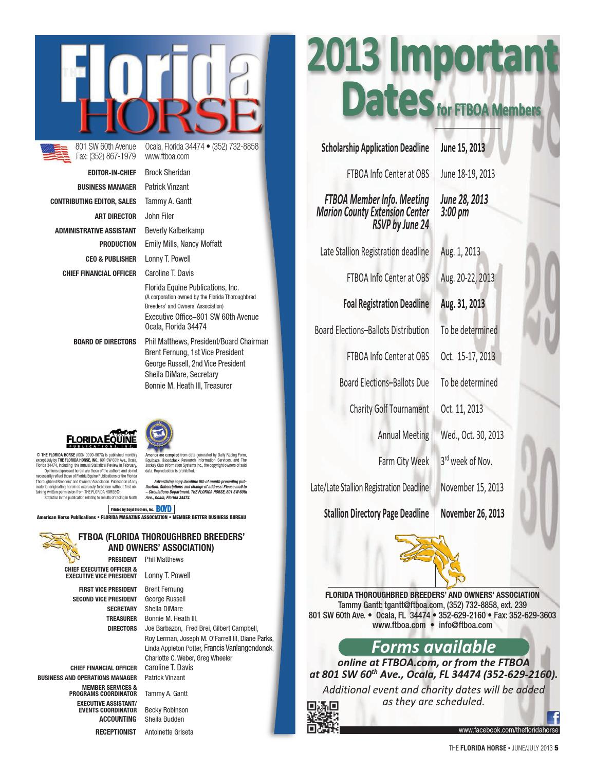 Junejuly 2013 Florida Horse Farm & Service Directory by