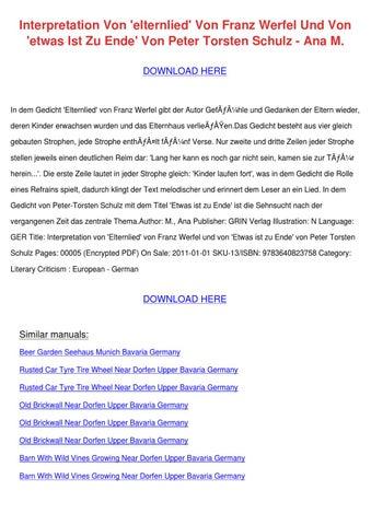 Interpretation Von Elternlied Von Franz Werfe by ChanteBeeler - issuu