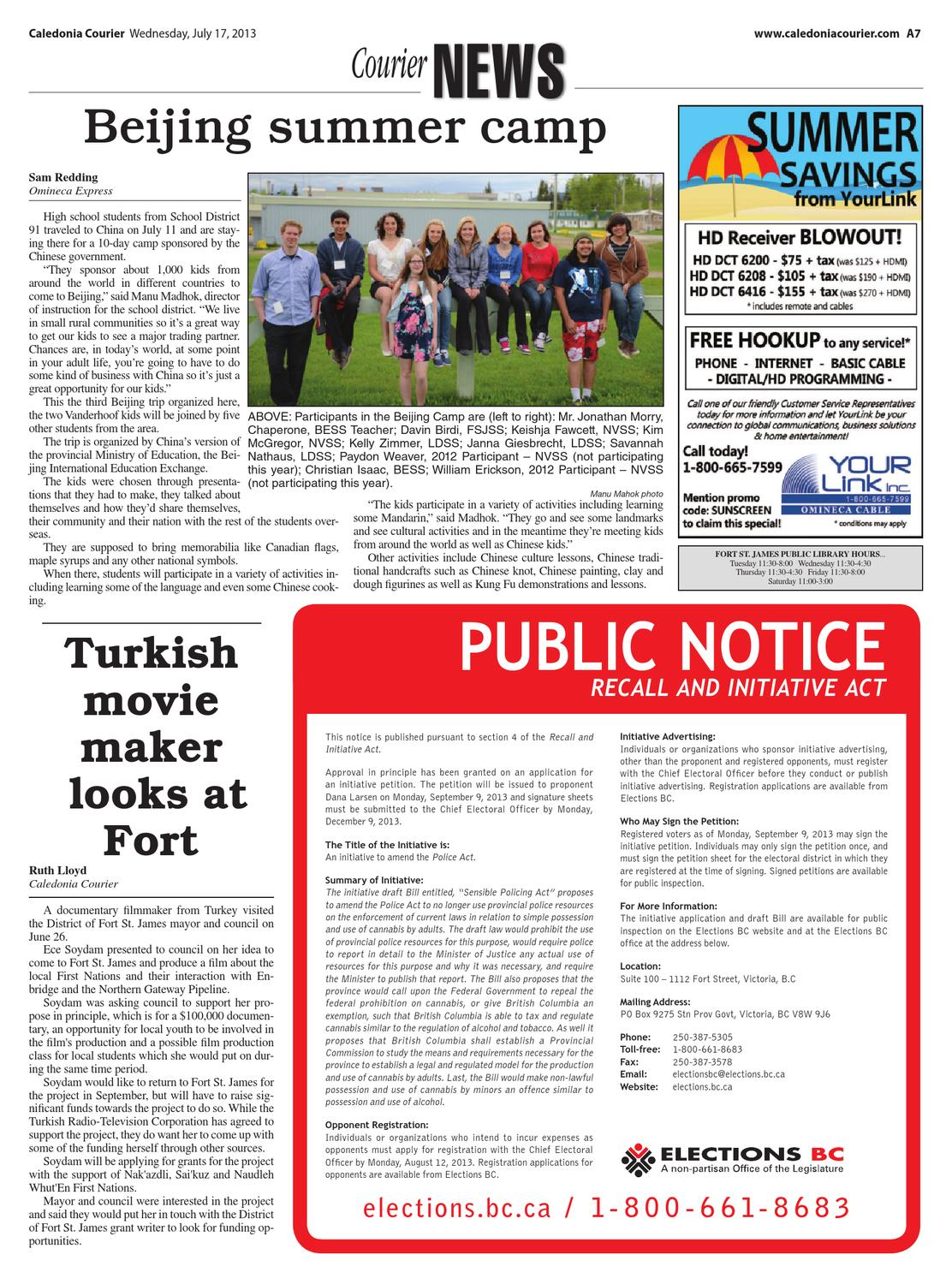 Caledonia Courier, July 17, 2013 by Black Press Media Group