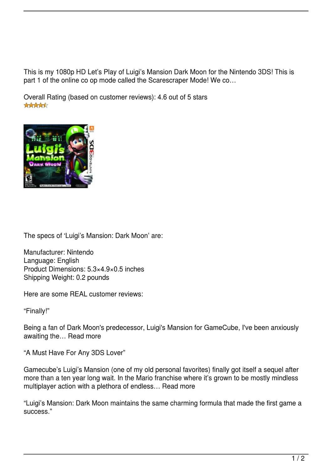 Luigi 8217 S Mansion Dark Moon Review By Jordanscottmail