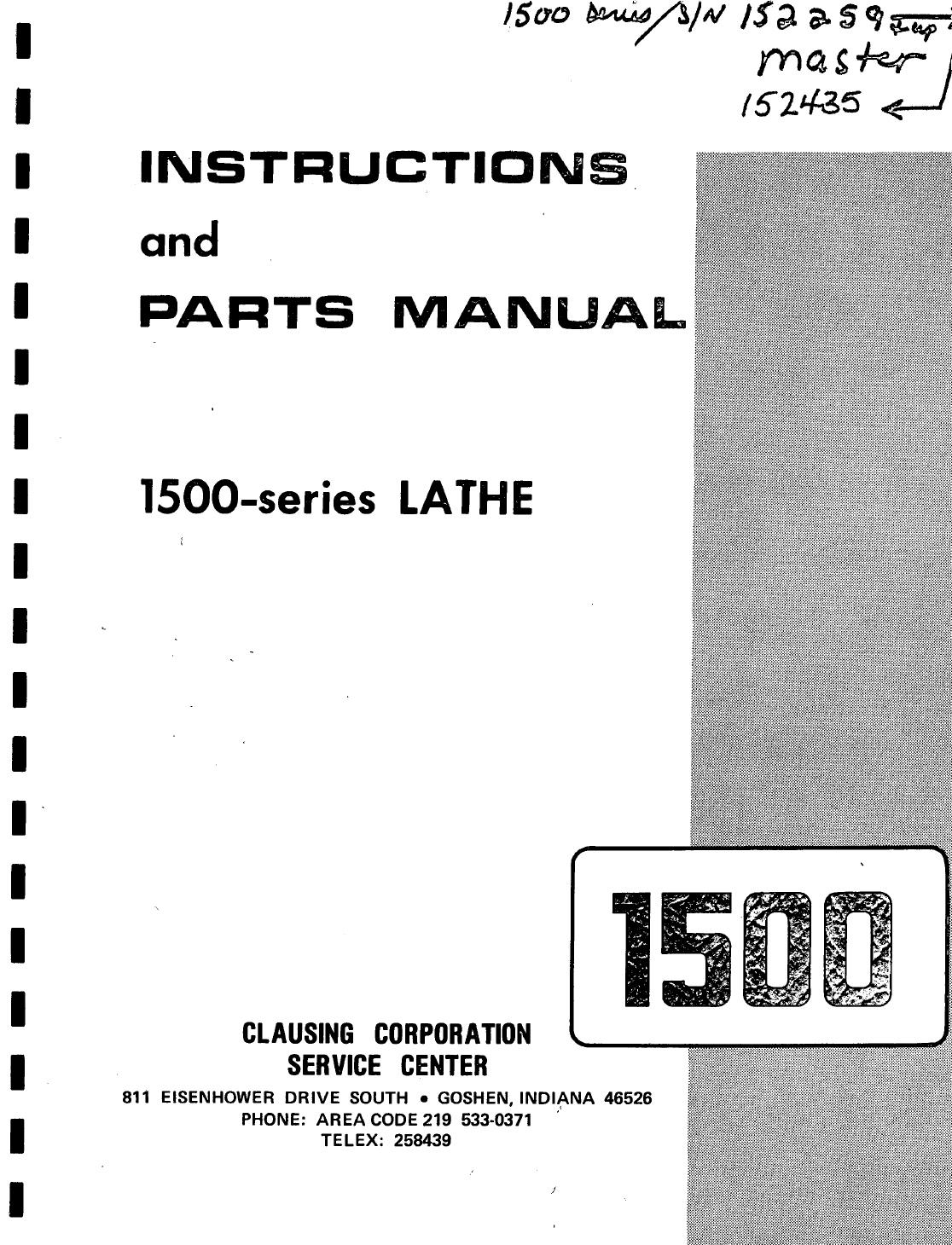 Clausing Lathe 1500 Manual By Lew Tousignant Issuu Engine Parts Diagram