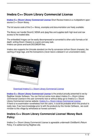 Imebra C++ Dicom Library Commercial License by Bochiha