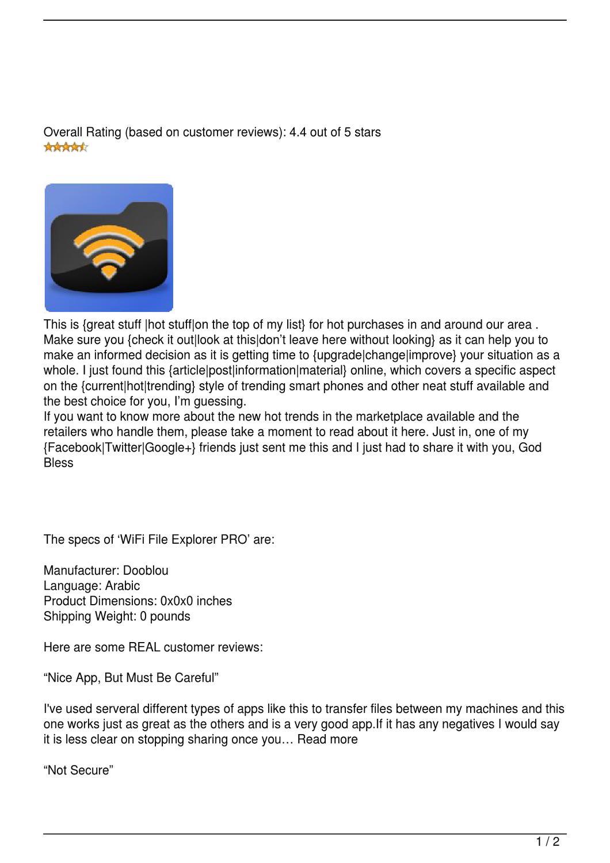 WiFi File Explorer PRO Review by Jeff Heath - issuu