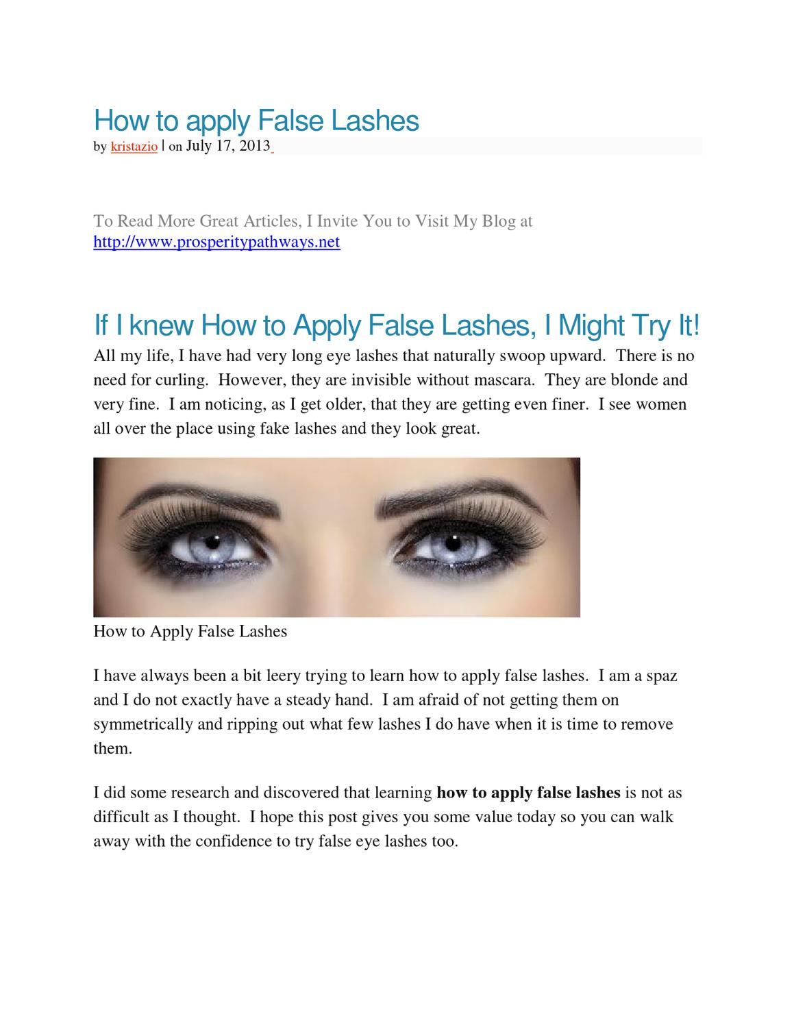 023d344b338 VIDEO – How to apply False Lashes by Krista Ziobrowski - issuu