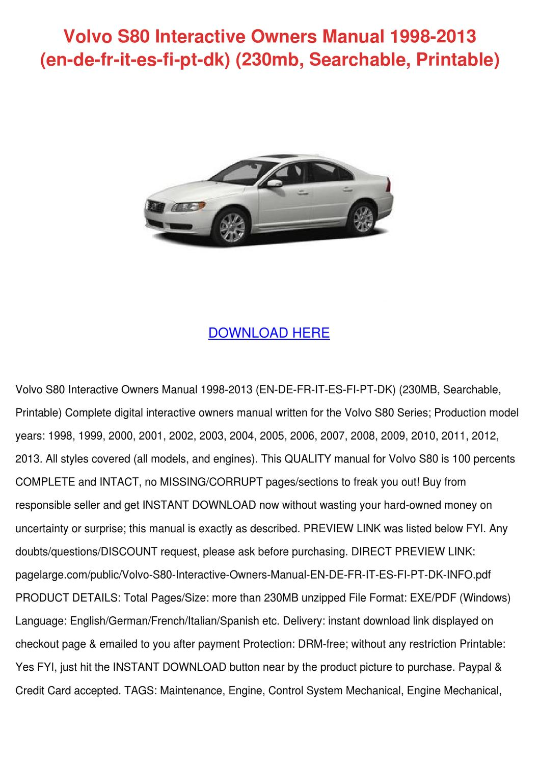 volvo s80 interactive owners manual 1998 2013 by venettasonnier issuu