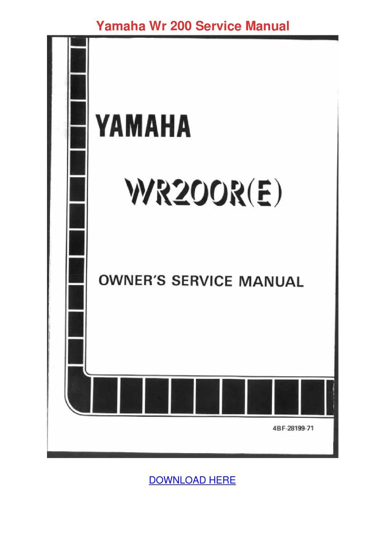 Yamaha Wr 200 Service Manual By