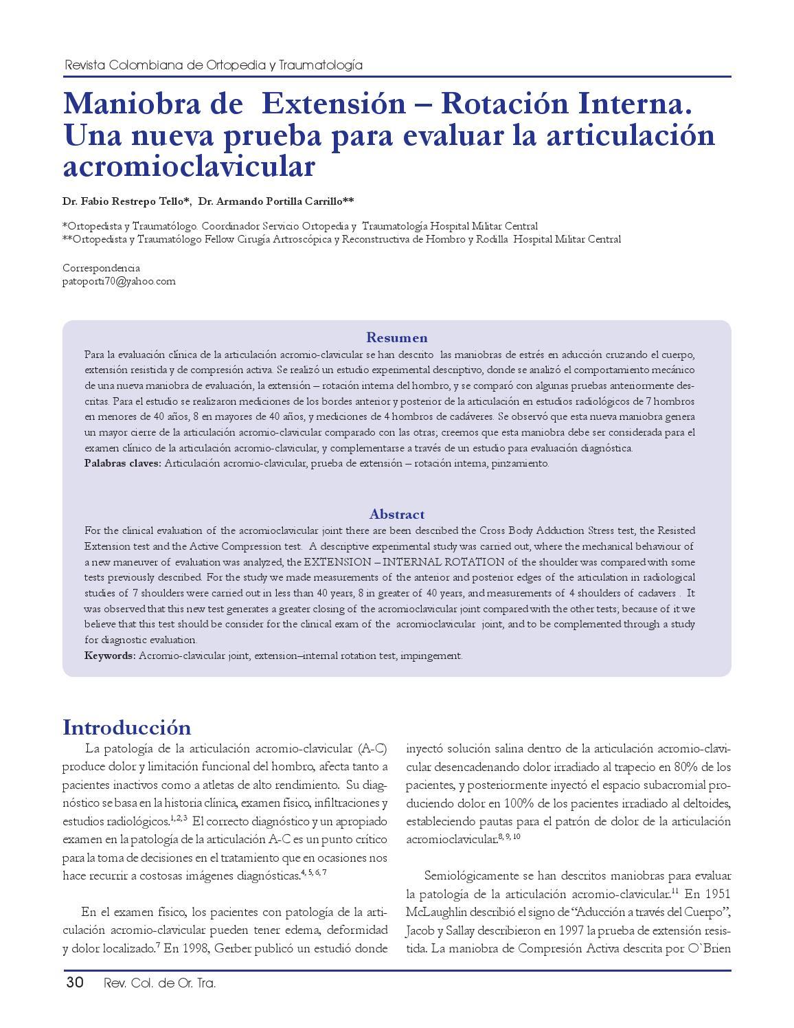 Maniobra de Extensión – Rotación Interna. by Andrés Aldana - issuu