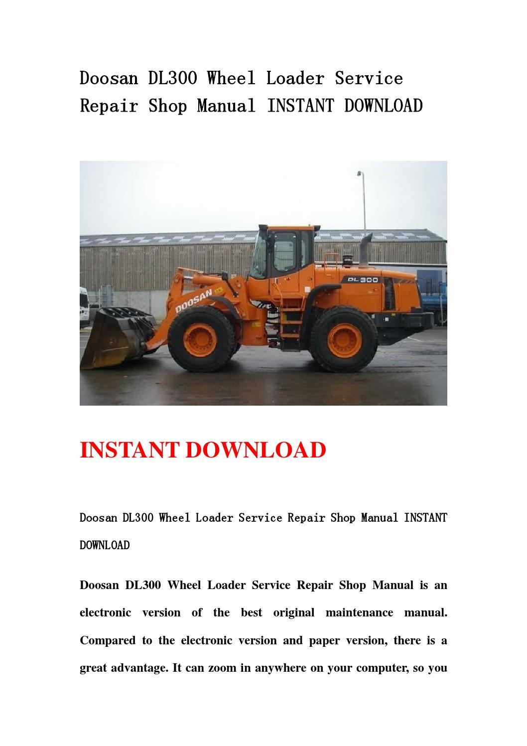 Doosan Dl300 Wheel Loader Service Repair Shop Manual