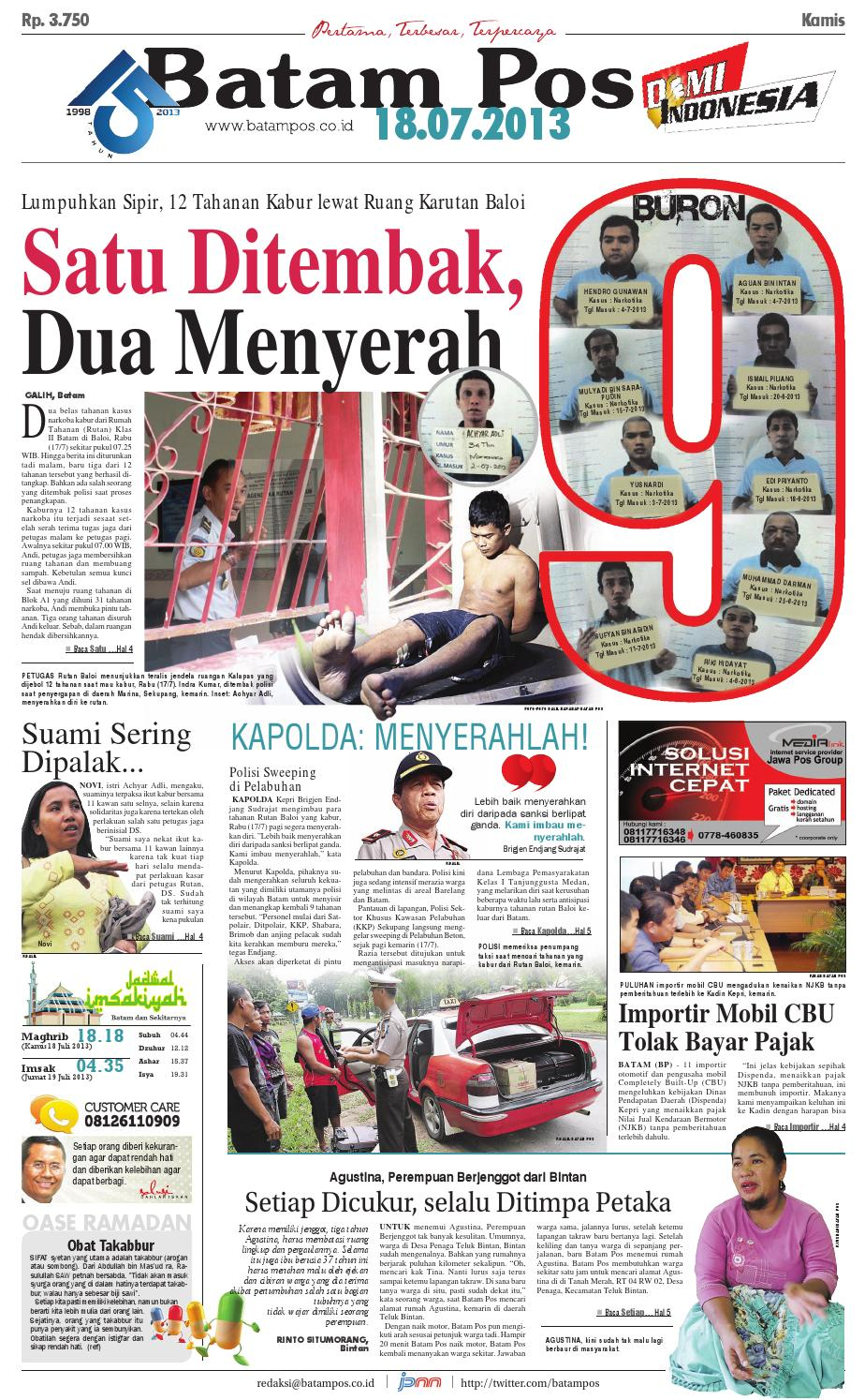 18 Juli 2013 by Batampos Newspaper - issuu 30f3c37aaa