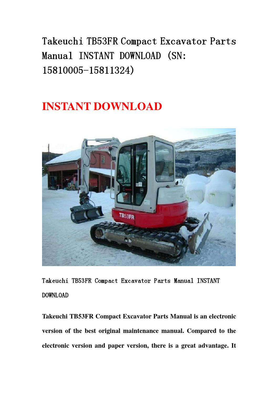 takeuchi tb53fr compact excavator parts manual instant. Black Bedroom Furniture Sets. Home Design Ideas