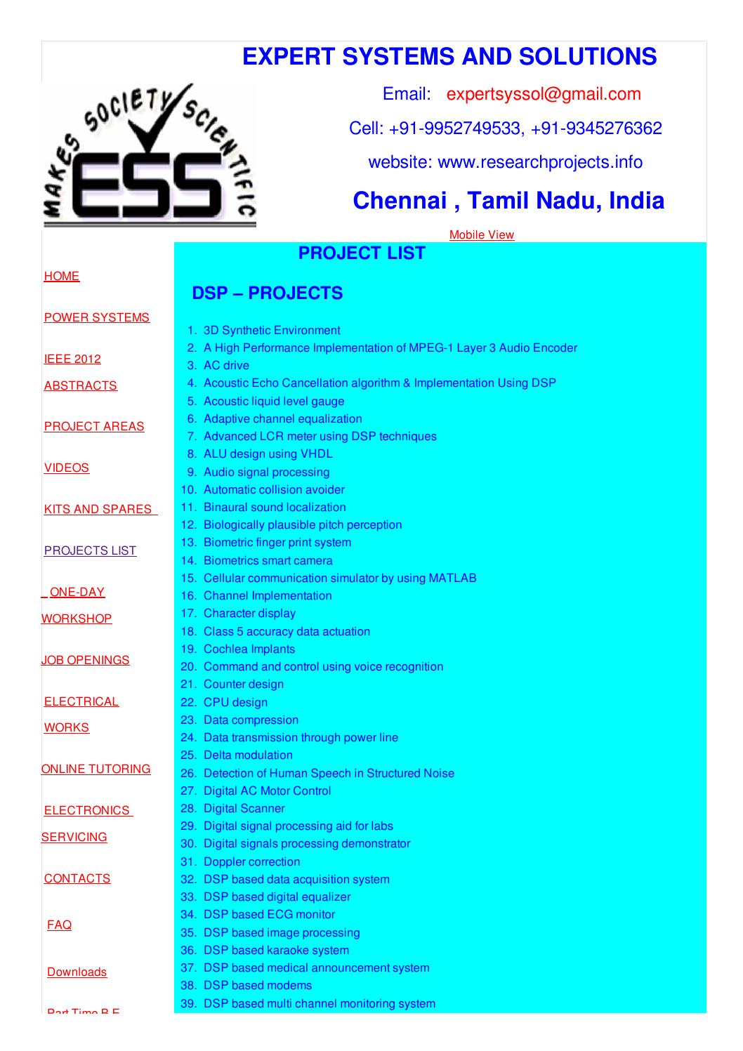 Project Titles For Eee Ece Eie By Senthil Kumar Issuu Circuit Relay Delay Free Electronic Circuits 8085 Projects