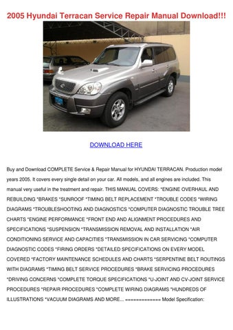 2005 hyundai terracan service repair manual d by ulyssessosa issuu rh issuu com hyundai terracan workshop manual pdf hyundai terracan workshop manual download
