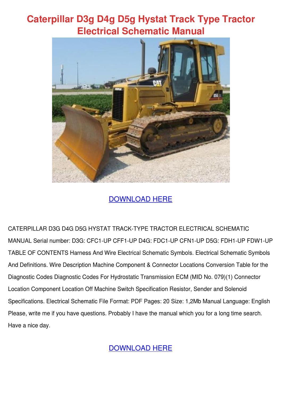 Caterpillar D3g D4g D5g Hystat Track Type Tra By