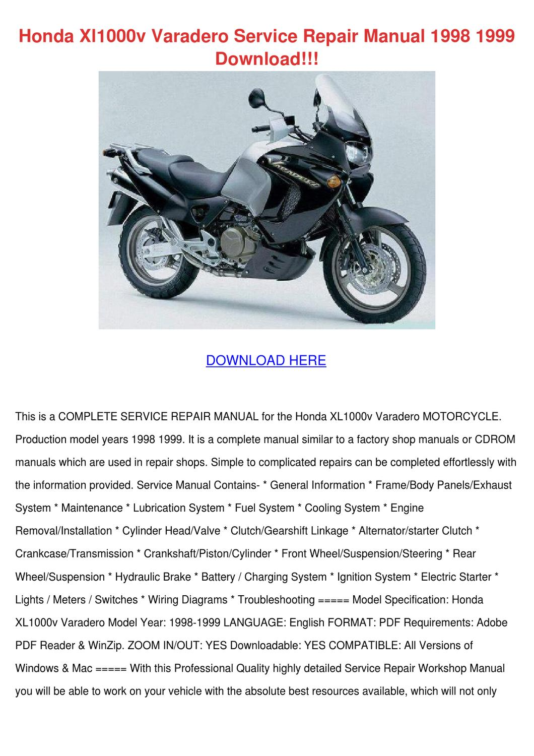 Honda Xl1000v Varadero Service Repair Manual By