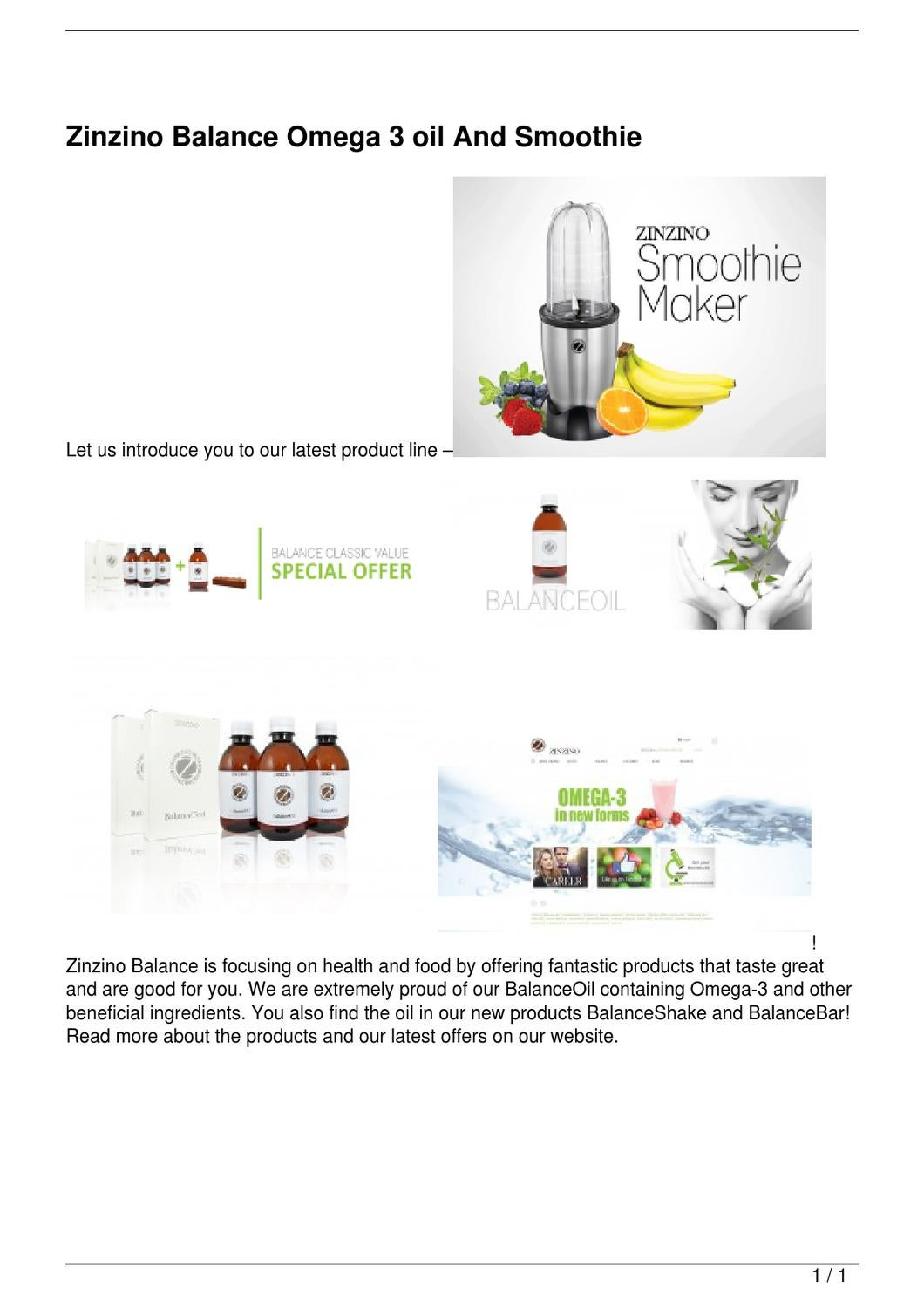 Zinzino Balance Omega 3 oil And Smoothie by David Justin ...