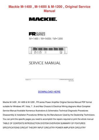 Mackie M 1400 M 1400i M 1200 Original Service by TarahSchulz - issuu