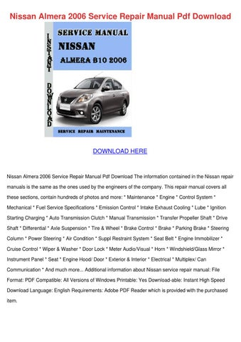 nissan almera 2006 service repair manual pdf by juliusfolse issuu rh issuu com 2000 Nissan Sentra 2016 Nissan Sentra