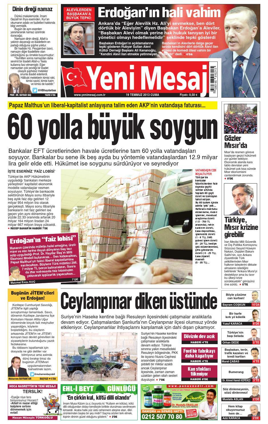 Yeni Mesaj Gazetesi Avrupa 19 Temmuz 2013 By T C Ali Asa Issuu