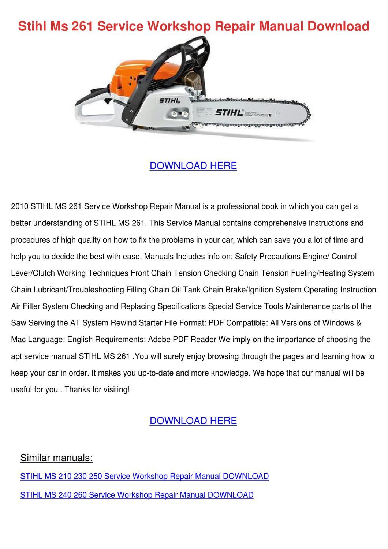 Stihl Ms 261 Service Workshop Repair Manual D by WillisStringer ...
