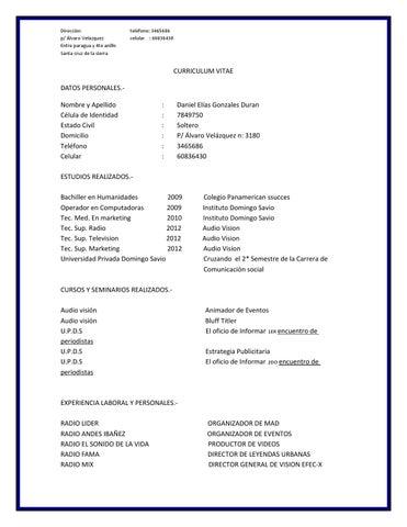 Curriculum Vitae Daniel Gonzales By Daniel Eliasg Issuu
