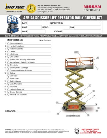 Aerial Scissor Lift Operator Daily Checklist By