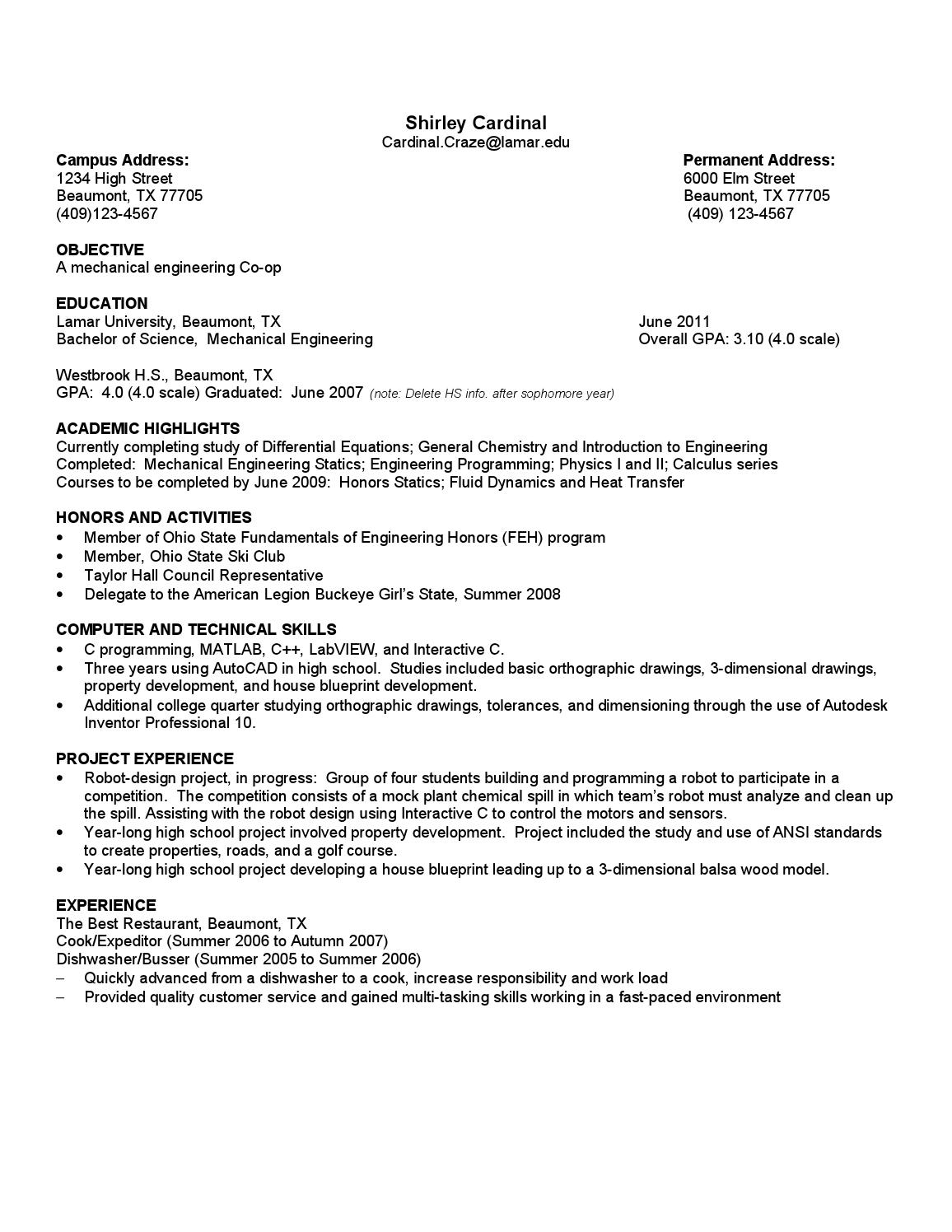 functional resume by lamar university dept  of career and
