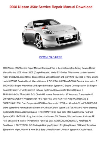 2008 nissan 350z service repair manual downlo by. Black Bedroom Furniture Sets. Home Design Ideas