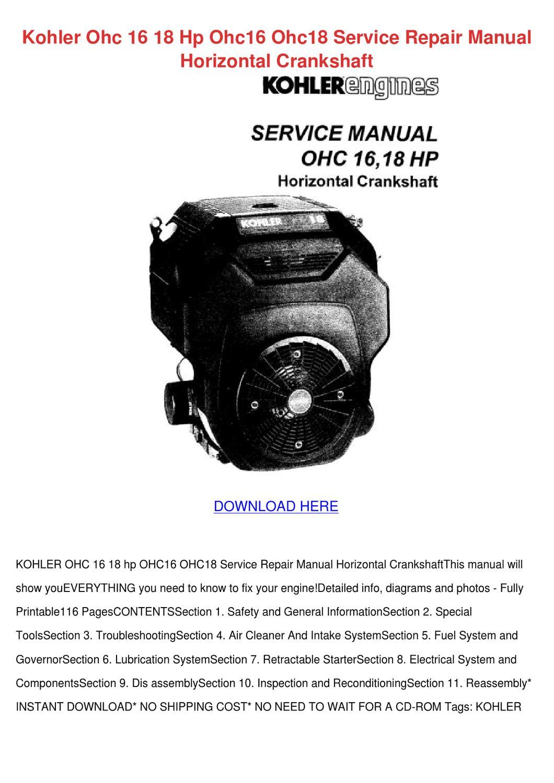 Kohler Ohc 16 18 Hp Ohc16 Ohc18 Service Repai By