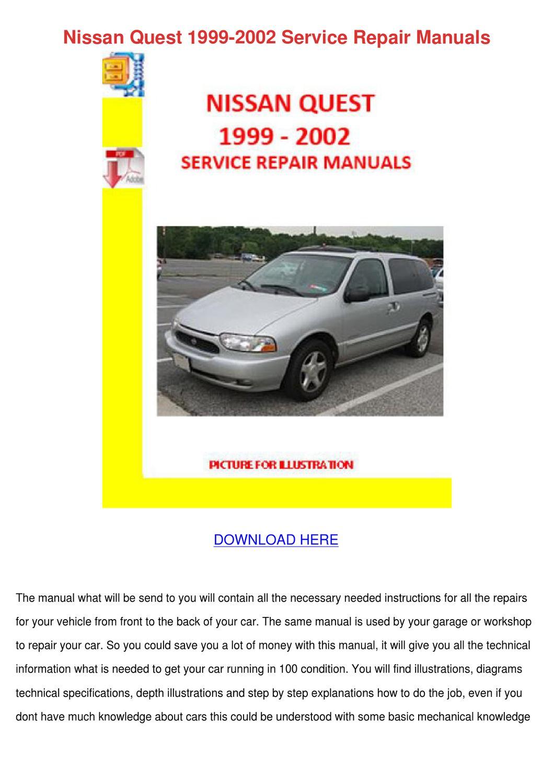 1996 nissan quest workshop service repair manual 9733 instant