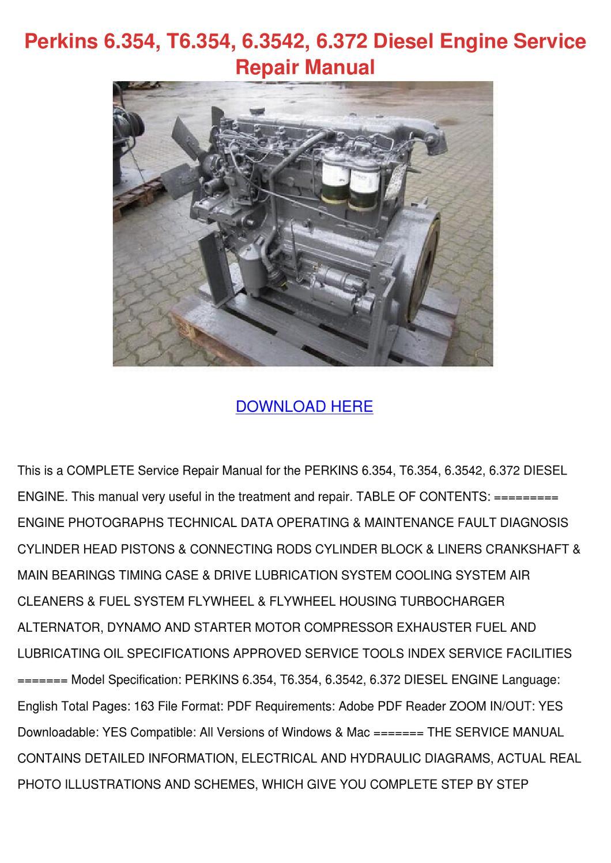 Perkins 6354 T6354 63542 6372 Diesel Engine S By Franciscranford