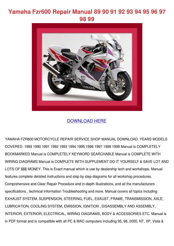 Yamaha Fzr600 Repair Manual 89 90 91 92 93 94 By