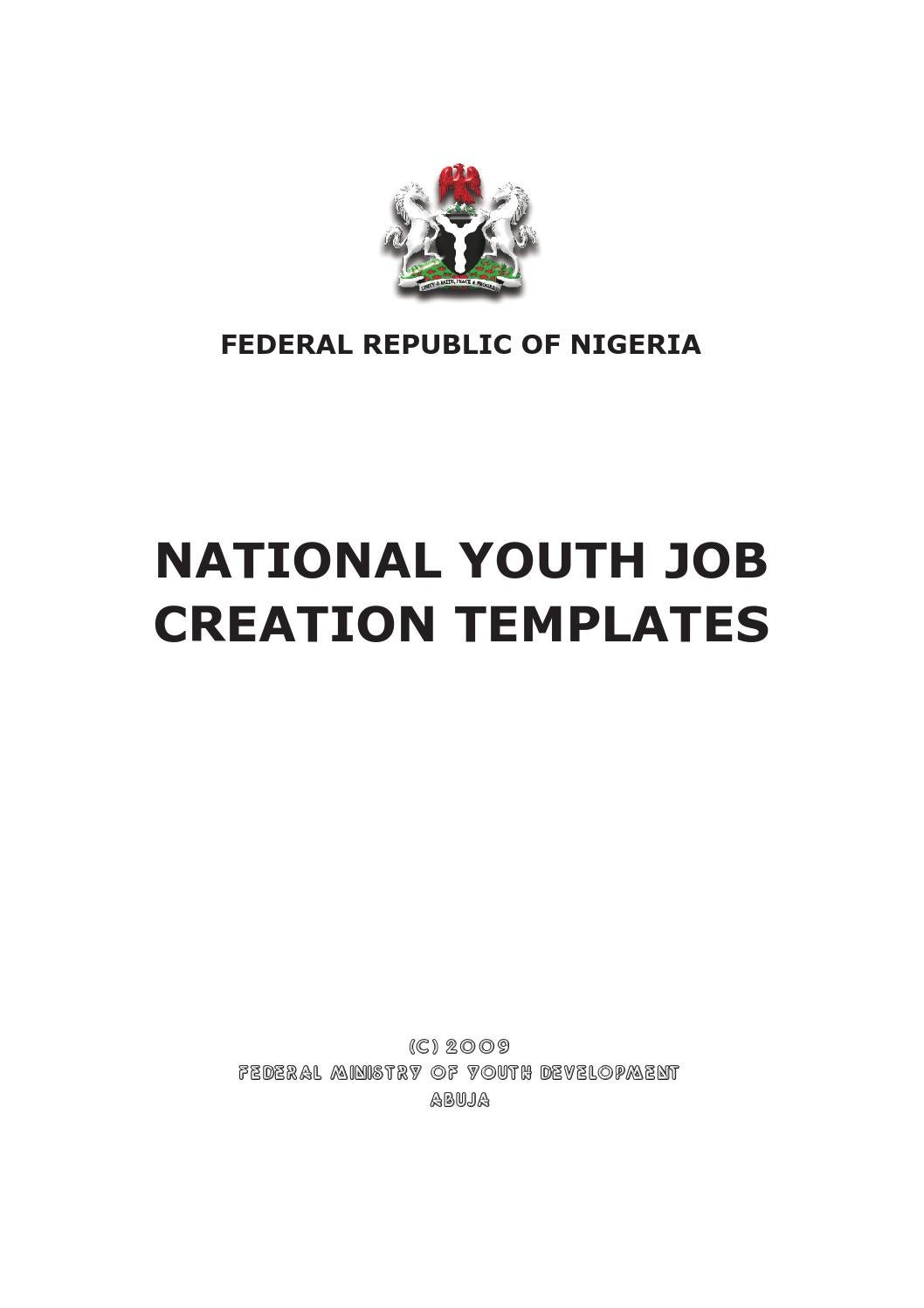 National Youth Job Creation Templates By Federal Ministry Of