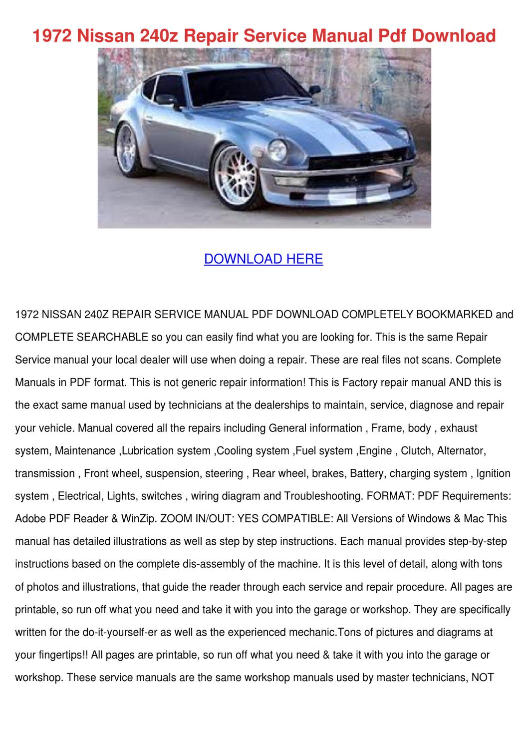 1972 Nissan 240z Repair Service Manual Pdf Do by ... on