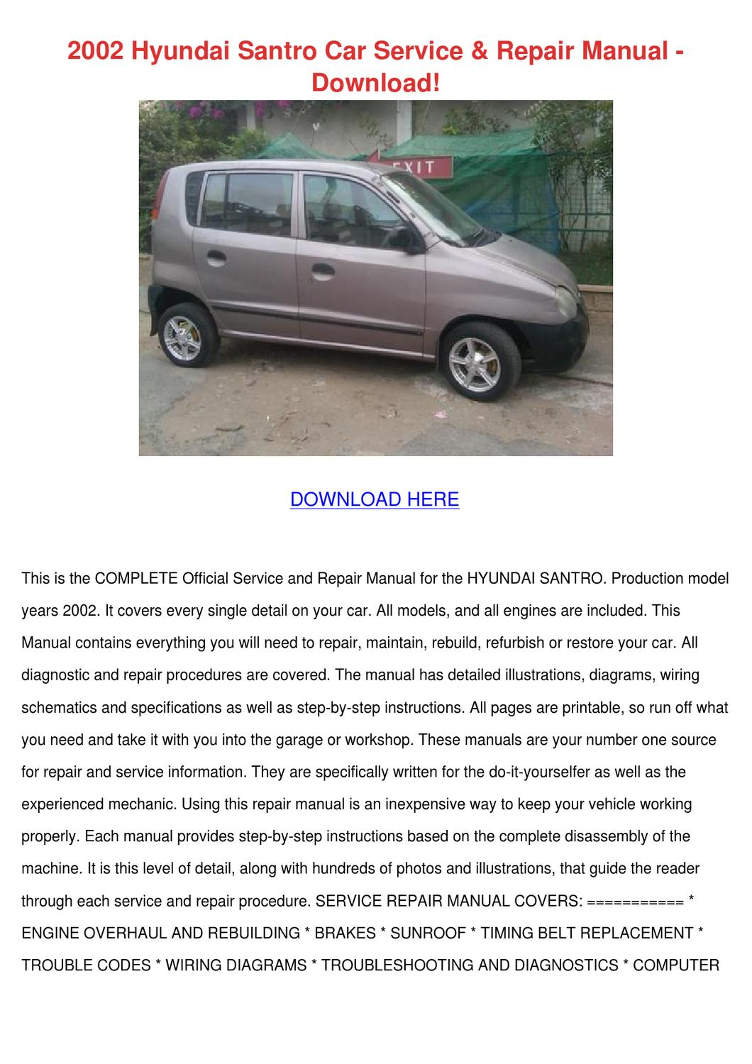 2002 Hyundai Santro Car Service Repair Manual By
