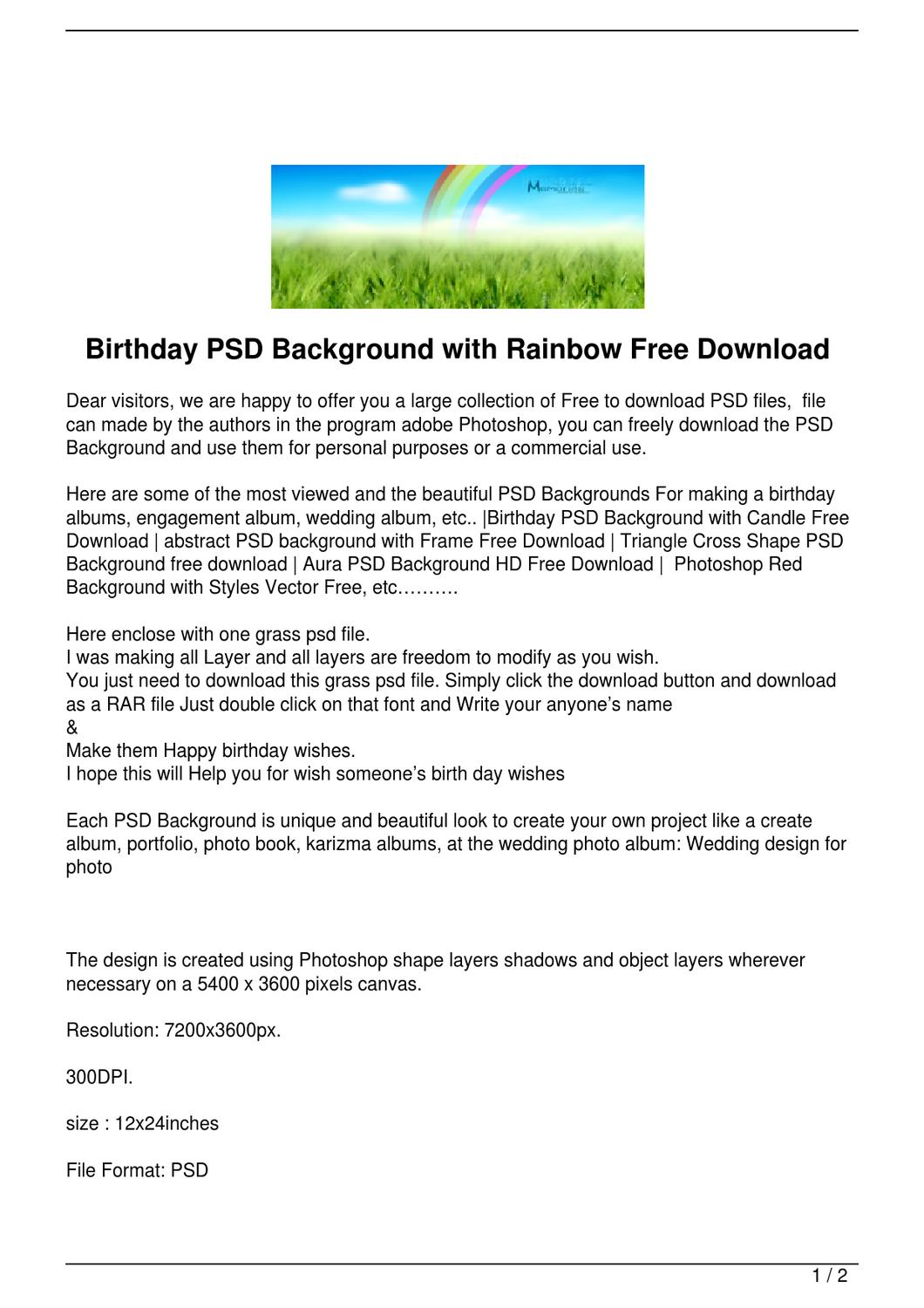 Birthday PSD Background with Rainbow Free Download by