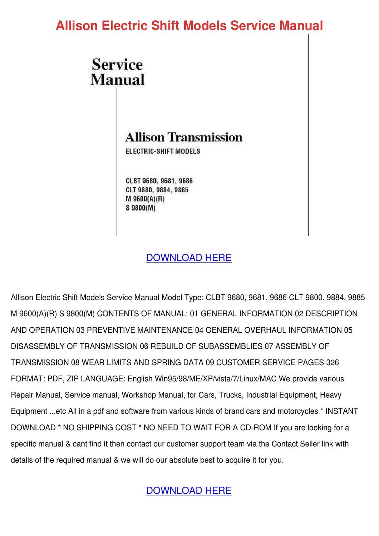 Allison Electric Shift Models Service Manual by ShawneeRobinette ...
